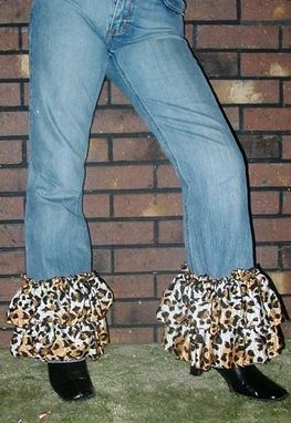 Custom Made Rags Designer Remake J. Crew Jeans With Animal Print Chiffon Ruffles Ladies Sz 6 (088-W)