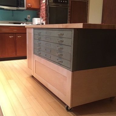 Custom Made Reclaimed Industrial Flat File Kitchen Island