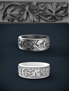 Custom Made Silver Bands. Floral Design.