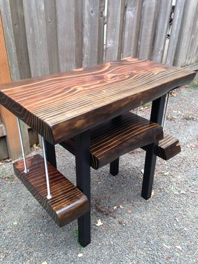Custom Made Custom Record Player Consoles/ Media Stations: Live Edge Slab/ Reclaimed Wood With Custom Steel Legs
