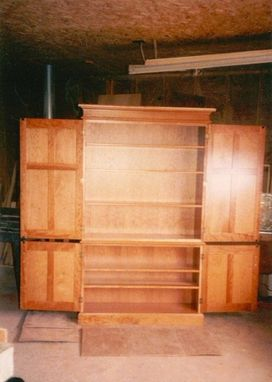 Custom Made Cherry Book Case With Raised Panel Doors