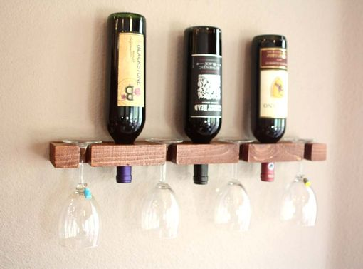 Custom Made Wine Rack-Wall Mounted Wood Wine Rack Holds 3 Bottles And 4 Wine Glasses