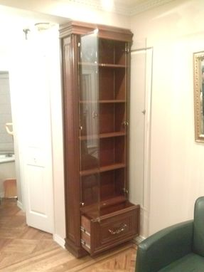 "Custom Made 80"" Handmade Wooden Curio Cabinet/Bookcase Hutch"