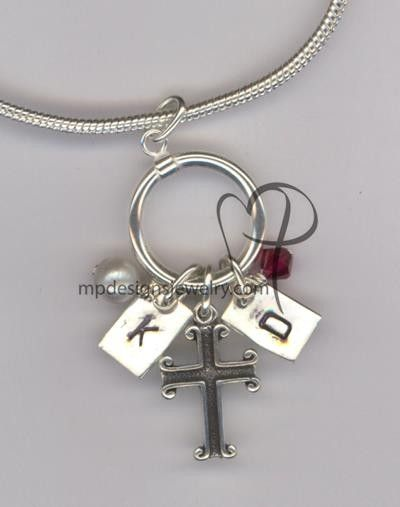 Custom Made Hand Stamped Mother Grandmother Birthstone Charm Necklace