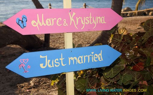 Custom Made Beach Wedding Sign. Two Less Fish In The Sea.