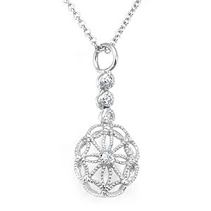 Custom Made Diamond Wheel Pendant In 14k White Gold, Wheel Pendant, Ladies Pendant Drop Down Pendant