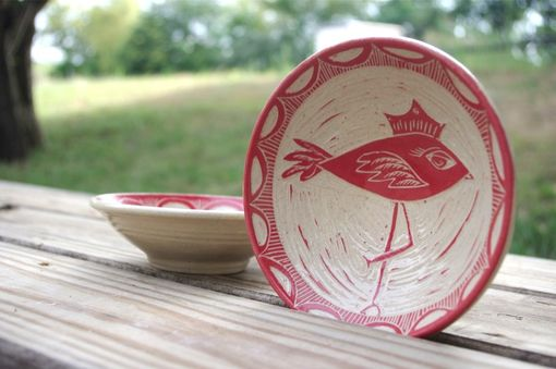 Custom Made Pair Of Cherry Red Birds - Bowls