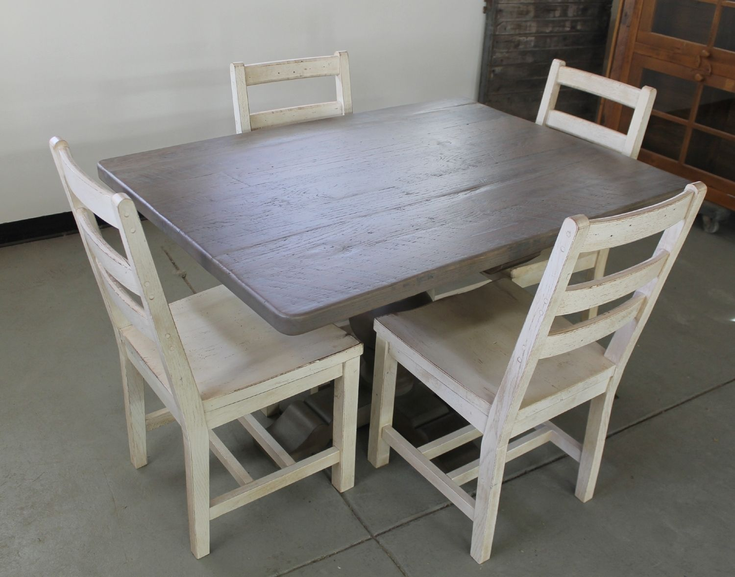 Custom Made Old Oak Pedestal Table In Driftwood Finish Seen With - Driftwood dining table set