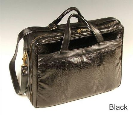 Custom Made Small Black Zip Leather Briefcase