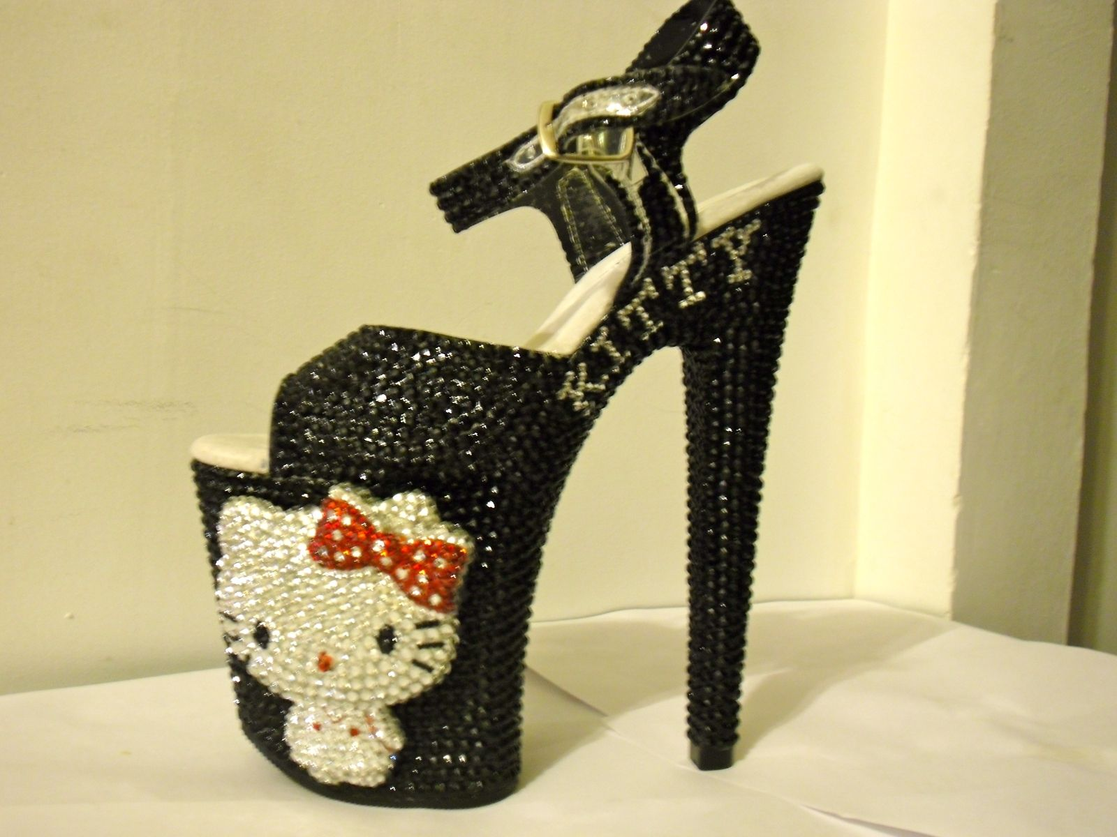 1a4dddbce9e Buy a Hand Crafted 3d Crystallized Hello Kitty Heels (Black/Red ...
