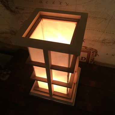 Custom Made Kirumi- A Black Walnut And Maple Mission Style / Shoji Lamp