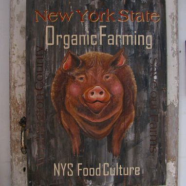 Custom Made Pig Painting Kitchen Sign On Repurposed Wood
