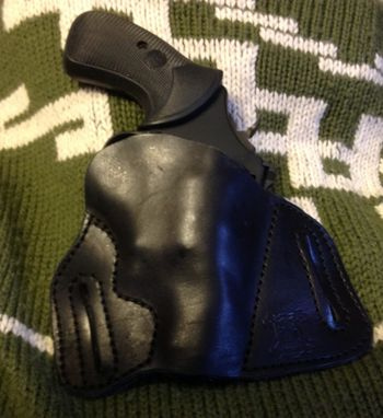 Custom Made Concealable Leather Pancake Holster For S&W Compact N-Frame Revolver