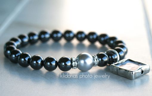 Custom Made Photo Charm Bracelet With Shiny Black Hematite Beads
