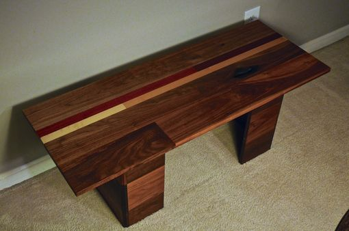 Custom Made Modern Coffee Table In Walnut And Exotic Crimson Padauk -1 Available To Ship Today