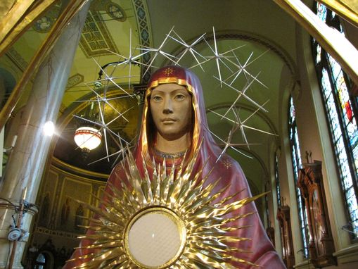 Custom Made Iconic Monstrance Of Our Lady Of The Sign, Ark Of Mercy.