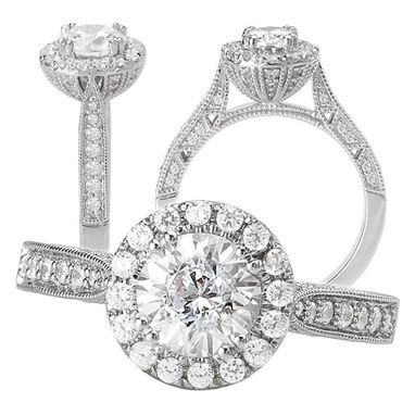 Custom Made 18k White Gold Diamond Engagement Ring Semi-Mount With Diamond Halo And Milgrain Beading