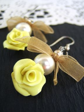 Custom Made Yellow Pearl And Bow Earrings - Roses Hand-Crafted In Polymer Clay - Beautifully Packaged