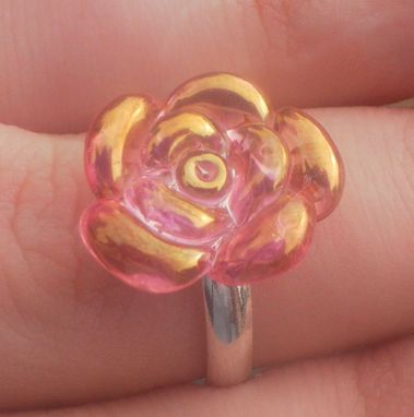 Custom Made Rose Ring Custom Jewlery Glass Flower Silver