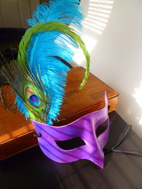 Custom Made Purple Leather Handmade Mask With Teal, Green And Peacock Feathers For Masquerade