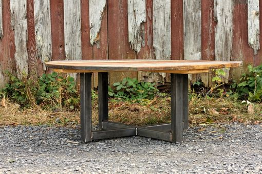Custom Made Weathered Reclaimed Wood Round Coffee Table
