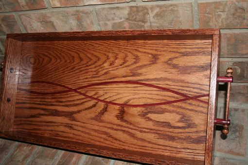 Custom Made Serving Tray Red Oak With Purpleheart Accent