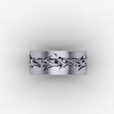 Custom Made Crown Of Thorns Sterling Silver Band