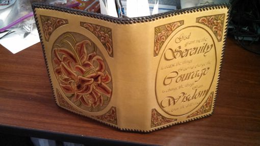 Custom Made Leather Aa Big Book Cover With Serenity Prayer And Lillies