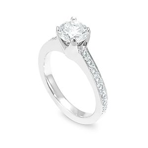 Custom Made Diamond Engagement Earring In 14k White Gold, Proposal Ring, Ladies Ring