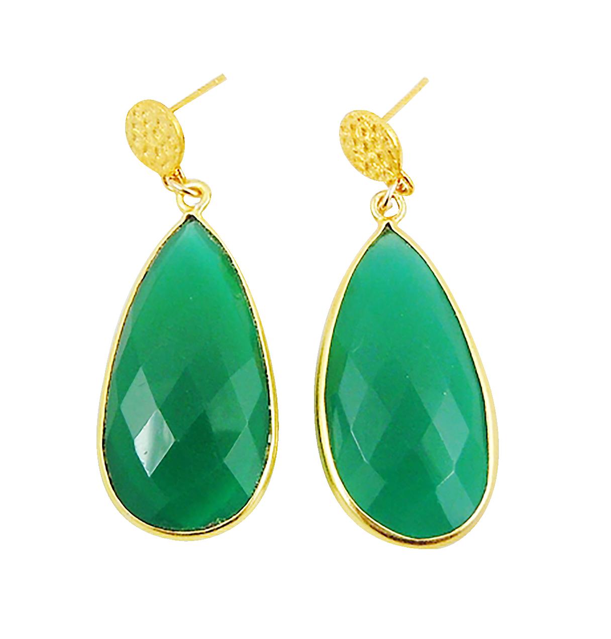 Custom Made House Of Zada 24kt Gold Vermeil Hammertone Green Onyx Statement Earrings