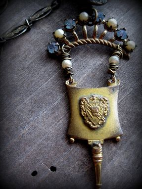 Custom Made Crown Brooch And Brass Button Pendant On Vintage Brass Chain With Pearls And Rhinestone