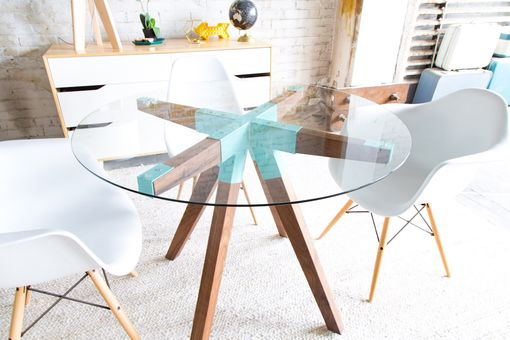 Custom Made The Maui, Modern Round Glass Dining Table