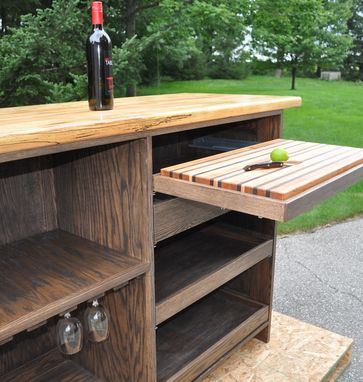 Custom Made Freestanding Bar With Spalted Beech Top