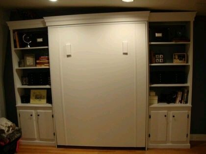 Custom Made Queen Size Murphy Bed With Side Shelving/Cabinets