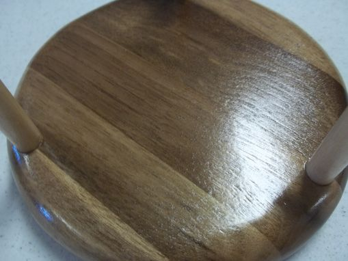 Custom Made Set Of 6 Leather Coasters With Wooden Holder