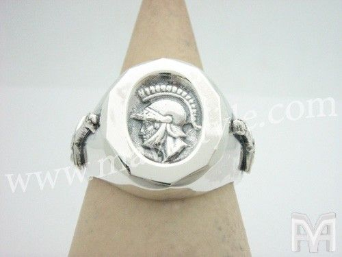 Custom Made Sterling Silver Greco Roman Soldier With Swords Ring