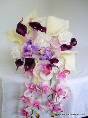 Custom Made Wedding Cascade Bouquet, Orchid And Calla Lily Real Touch