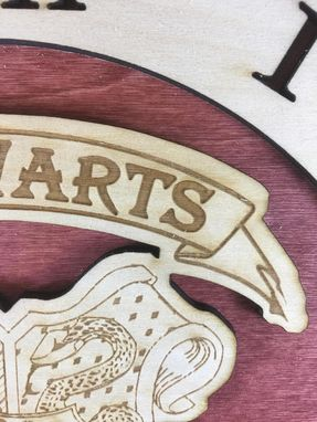 Custom Made Hogwarts School Crest From Harry Potter Laser Cut Stained Wood Clock
