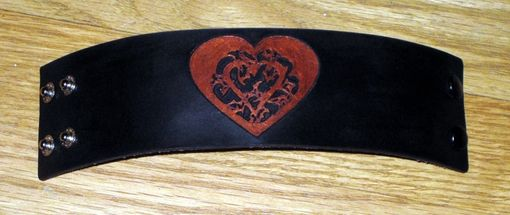 Custom Made Heart Heavy Leather Bracelet/Cuff Customizable Colors - Designed By Brian Scott