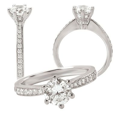 Custom Made 18k White Gold Diamond Engagement Ring Semi-Mount, Holds A 7.5mm Round Center