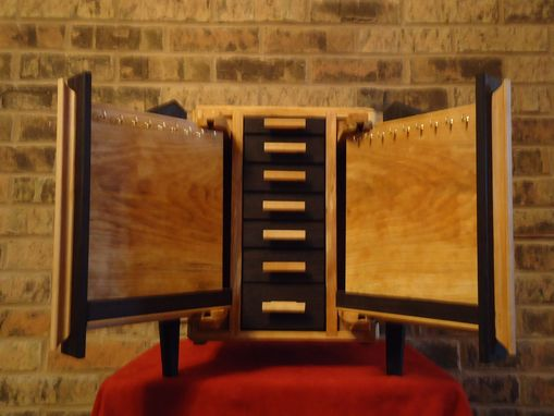 Custom Made Wenge And Birch Jewlery Box With Vertical Necklace Drawers
