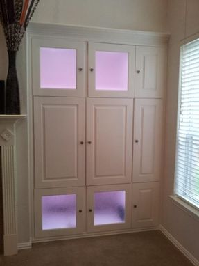 Custom Made Custom Made Storage Cabinets With Space For Tv And Multi-Colored Light System!