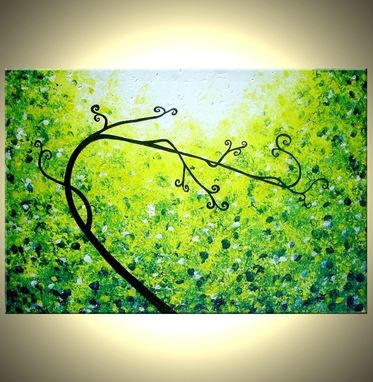 Custom Made Green Tree, Abstract Tree Original, Green Landscape Painting, By Lafferty - 24 X 36