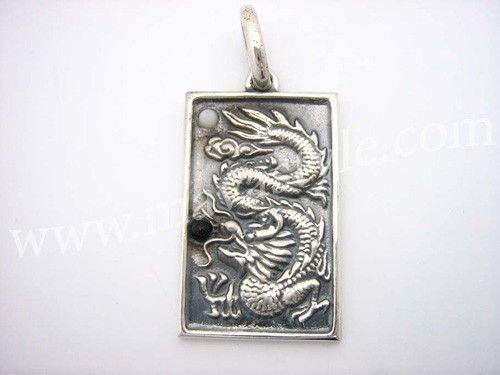 Custom Made Sterling Silver Dragon Medallion Pendant Ying Yang Yin
