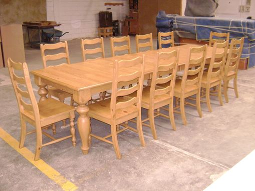 Custom Made Pine Dining Table And Ladder Back Chairs