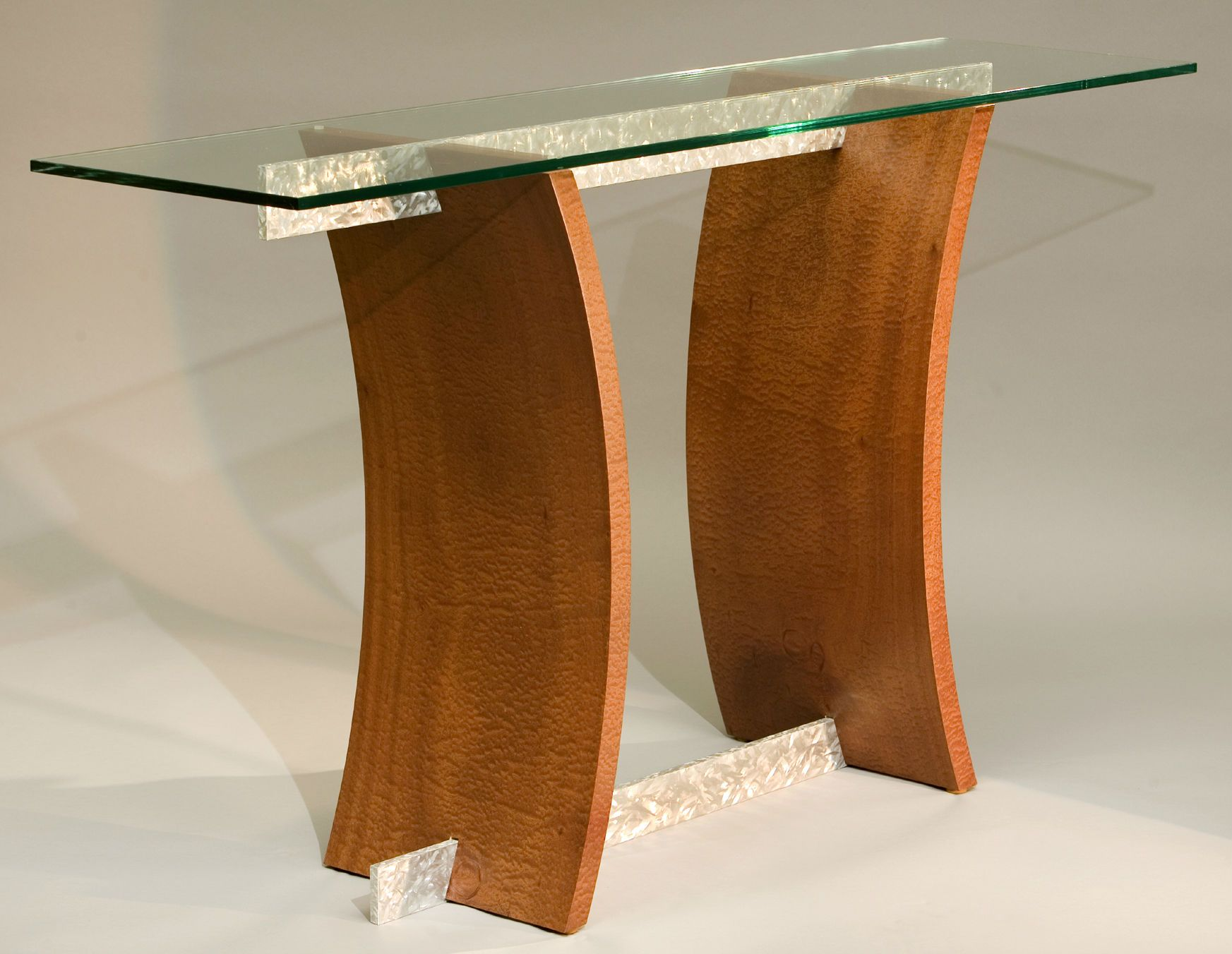Buy a Hand Made Modern Glass Top Hall Table Sofa Table In Wood