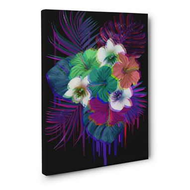 Custom Made Neon Tropical Flowers Black Canvas Wall Art