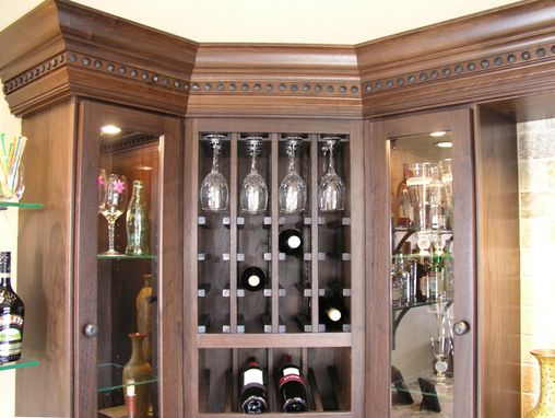 Custom Made Walnut And Iron Clavos Wine Bar Glass Storage Case And Display