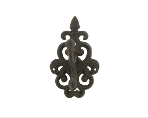 Custom Made Brown Cast Iron Wall Mount Double Hook