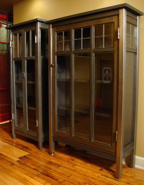 Custom Made Cabinet - Mission Style Steel & Glass